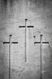 Three crosses in stone Royalty Free Stock Photo