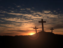 Three crosses at sunset. Three christian crosses at sunset Royalty Free Stock Image