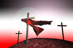 Three crosses at sunset. A piece of cloth caught on a cross at red sunset vector illustration