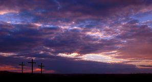 Three Crosses and Sunset Stock Photos