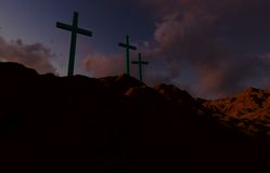 Three Crosses at Sunset Stock Photos