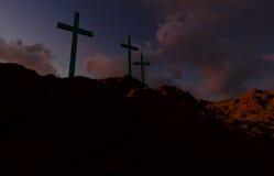 Three Crosses at Sunset Stock Photos