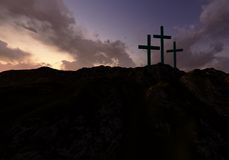 Three Crosses at Sunset Royalty Free Stock Photography