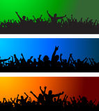 Three Crowd scenes. Collection of three different crowd scenes on colourful backgrounds Royalty Free Stock Images