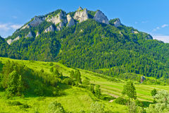 The Three Crowns massif in The Pieniny Mountains r Royalty Free Stock Photo