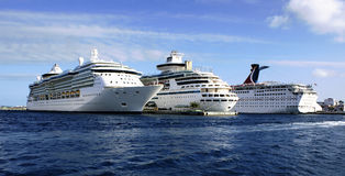 Three cruise ships. Lined up at the port in nassau bahamas Royalty Free Stock Photos