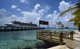 Three Cruise Ships in Cozumel, Mexico royalty free stock photo