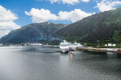 Three Cruise Ships in Juneau Royalty Free Stock Images
