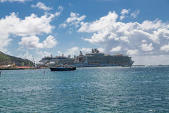 Three Cruise Ships in St Maarten Stock Images