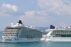 Three cruiser ship Corfu island Stock Image