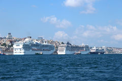 Three cruiser ships Stock Images