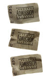 Three CRUMPLED General Admission Tickets. Close-Up of Three CRUMPLED General Admission Tickets stock image