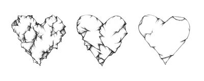 Three crumpled hearts. Illustration of three crumpled heart figures Stock Images