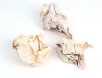 Three of crumpled old paper balls Stock Photos