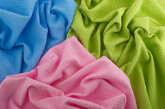 Three crumpled towels. Close-up of three colored towels Royalty Free Stock Image