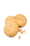Three crunchy cashew nut cookies Stock Photos