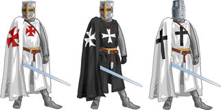 Three Crusader Knights Stock Photo
