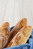 Three Crusty Baguettes With Copy Space Royalty Free Stock Image