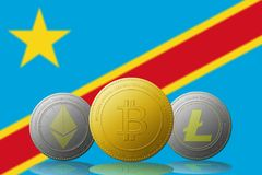 Three cryptocurrencies Bitcoin Ethereum and Litecoin with Democratic Republic of Congo flag on background. Three cryptocurrencies Bitcoin  Ethereum and Litecoin Royalty Free Stock Photography