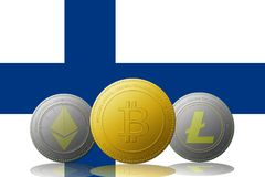 Three cryptocurrencies Bitcoin  Ethereum and Litecoin with Finland flag on background.  Stock Photography