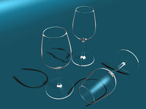 Three Crystal glasses Royalty Free Stock Photo
