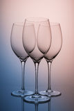Three crystal glasses closeup Stock Image