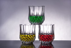 Three crystal glasses. Royalty Free Stock Photos