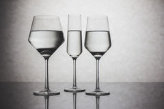 Three Crystal Glasses of Water Stock Photo