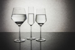 Three Crystal Glasses of Water Stock Photography