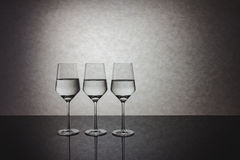 Three Glasses Of Water In A Row Stock Image Image Of