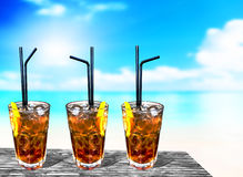 Three cuba libre exotic tasty cocktails background beach and tur Royalty Free Stock Photo