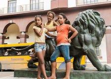 Three Cuban girls pose Stock Photos