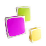 Three cube blocks composition isolated Stock Photo