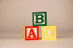 Three Cubes ABC. Three Cubes with letter ABC Stock Photography