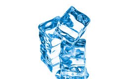 Three cubes of blue ice Stock Photography