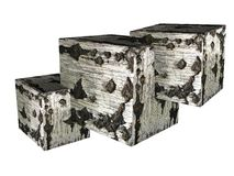 Three cubes, square with birch texture 3D. Three cubes, square with a birch texture, another one appears, abstraction, firewood or briquettes  on white Royalty Free Stock Image