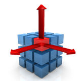Three Cubes Three Arrows Royalty Free Stock Photo