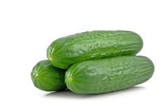 Three cucumber. Isolated on white background Stock Images