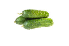 Three cucumber. On isolated background Royalty Free Stock Photos