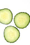 Three Cucumber Slices Royalty Free Stock Photography