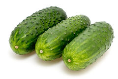 Three cucumber on a white Royalty Free Stock Photography