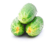 Three cucumbers isolated on the white background Stock Images
