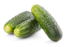 Three cucumbers isolated on white Stock Image