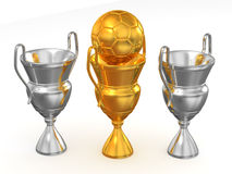 Three cup with ball. 3d Royalty Free Stock Photo