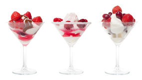 Three Cup Ice Cream with Berries Stock Photo