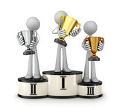 Three cup and podium. 3d illustration Royalty Free Stock Image