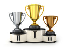 Three cup and podium. (done in 3d Royalty Free Stock Photos