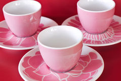 Three cup and saucer Stock Photography