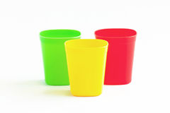 Three cup three color. Royalty Free Stock Photography
