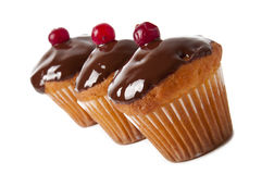 Three cupcake. With chocolate frosting Royalty Free Stock Image